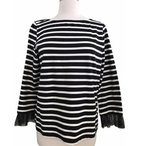 J. Crew Striped Shirt with Tulle Cuffs